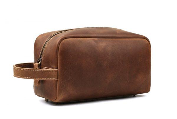 Leather Wash Bag, Men's Clutch, Shaving Bag, Toiletry Bag - Genuine Leather Bag, - Leather Wash Bag, - Men's Clutch, - Shaving Bag, - Toiletry Bag, - Handmade Vintage Leather Clutch,
