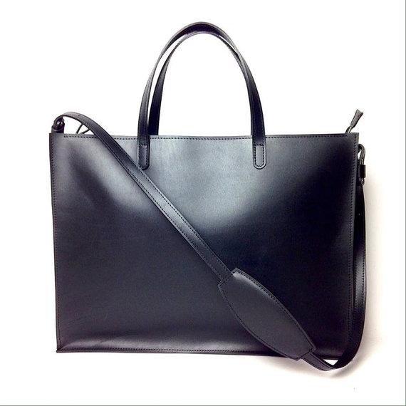 Leather Bag, leather briefcase, Plain Leather Briefcase, Black, Plain Document Bag
