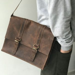 Leather Document Bag for Men, Handmade Leather Document Bag Brown