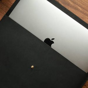 Leather Macbook Case, Basic Genuine Leather Macbook Sleeve, Black
