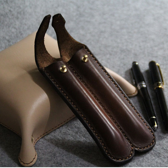 Leather Pen Case, Personalized Double Leather Pen Case Brown