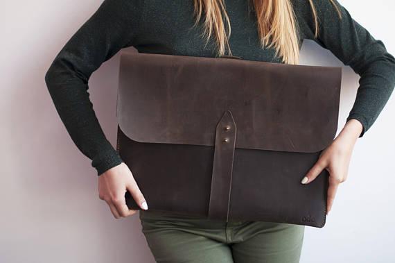 Leather Portfolio Bag, Large Portfolio Bag, Art Portfolio Bag / Crazy Dark Brown - Handmade, - A size selection - Personalized Portfolio Bag, - Genuine Leather Portfolio Bag, - Leather Art Portfolio Bag