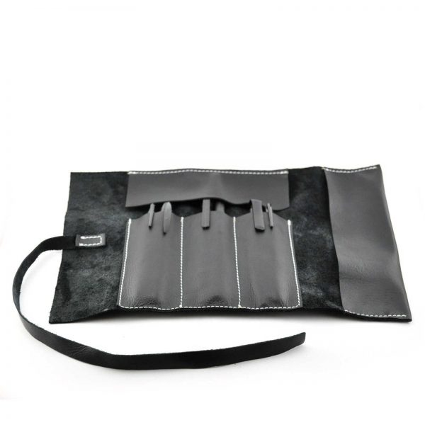 Leather Roll Pen Holder, Leather Pencil Case , Black