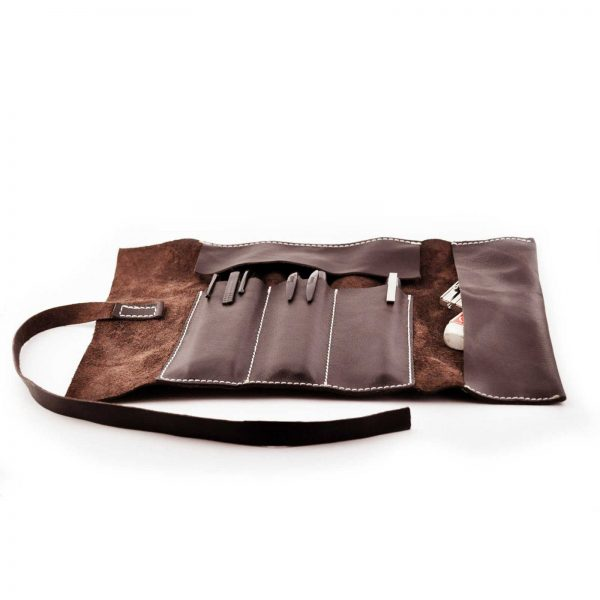 Leather Roll Pen Holder, Leather Pencil Case , Brown