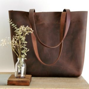 Leather Tote Bag, Large Tote Bag, Leather Arm Bag for Women / Crazy Lether Brown - Handmade item - Genuine Leather Bag - Leather Tote Bag