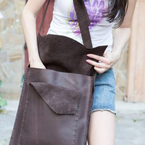Vintage Leather Crossbody Bag, Large Pocket, Rustic Brown