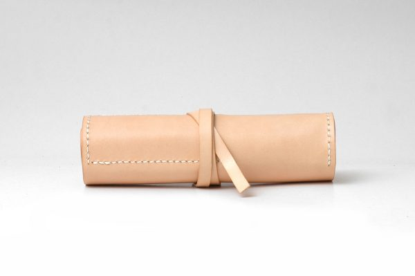 Vegetable Leather Pen Case, Leather Roll Up Pencil Case, Beige