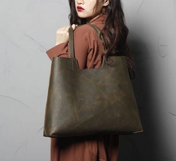 Leather Tote Bag, Genuine Leather Shoulder Bag, Crazy Brown - Genuine Leather Bag - Handmade Leather Bag - Leather Tote Bag - Shoulder Bag, - Shopping Bag, - Vintage Leather Bag,