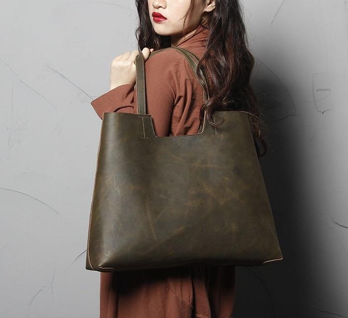 9196eb9ab2743 Leather Tote Bag, Genuine Leather Shoulder Bag, Crazy Brown - Genuine  Leather Bag -
