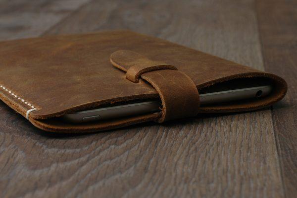 Leather iPad Sleeve, Distressed Leather iPad Case, Brown