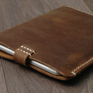 Leather iPad Sleeve, Distressed Leather iPad Case, Brown