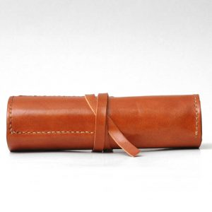 Luxury Leather Roll Up Pencil Case, Personalized Pen Sleeve