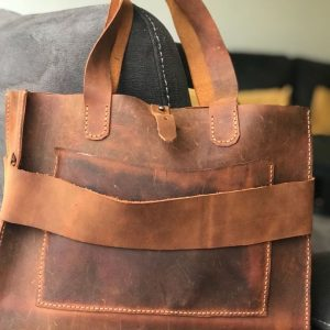 Leather Briefcase for Men, Rustic Leather Briefcase Copper Brown