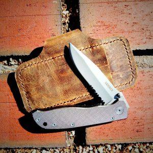 Leather Pocket Knife Sheath Vintage Pull-Up Brown