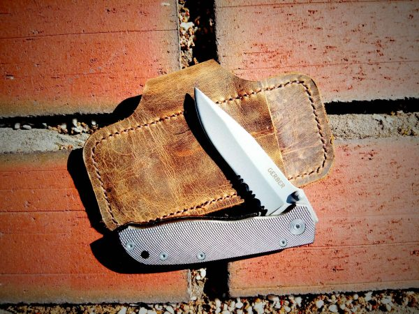 Leather Pocket Knife Sheath Vintage Pull-Up Brown